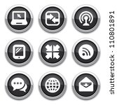 black communication buttons | Shutterstock .eps vector #110801891