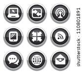 black communication buttons | Shutterstock .eps vector #110801891