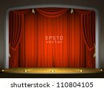 empty stage with red curtain in ... | Shutterstock .eps vector #110804105