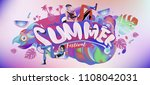 vector colorful summer banner.... | Shutterstock .eps vector #1108042031