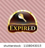 gold badge or emblem with key... | Shutterstock .eps vector #1108043015
