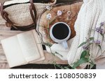 cup coffee or tea  blanket and... | Shutterstock . vector #1108050839