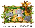 happy wild animals in frame... | Shutterstock .eps vector #1108063934