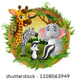 happy animals in frame forest | Shutterstock .eps vector #1108063949
