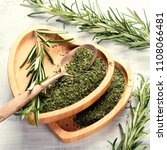 fresh and dried rosemary. view... | Shutterstock . vector #1108066481