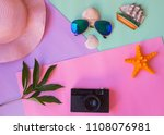 fashionable hat  camera and... | Shutterstock . vector #1108076981