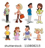 cute happy cartoon people | Shutterstock .eps vector #110808215