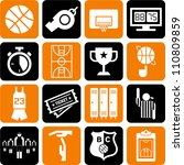 basketball icons - stock vector