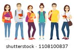 student set with books and... | Shutterstock .eps vector #1108100837