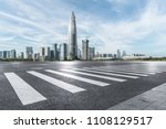 empty road with zebra crossing... | Shutterstock . vector #1108129517