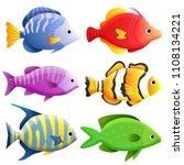 sea fish set   Shutterstock .eps vector #1108134221