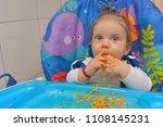 9 month children  eating pasta... | Shutterstock . vector #1108145231