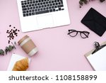 freelancer home office desk... | Shutterstock . vector #1108158899