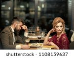 Small photo of treason and resentment. Bad date of couple, break up relations and love. couple with misunderstanding at restaurant. Business meeting of man and woman. Valentines day with woman and man. Dislike makes