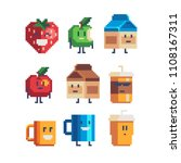 cute cartoon food characters... | Shutterstock .eps vector #1108167311