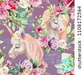 beautiful watercolor unicorns... | Shutterstock . vector #1108172564