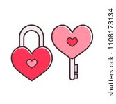 cute cartoon heart master key... | Shutterstock .eps vector #1108173134