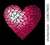 mosaic red heart . stained glass | Shutterstock .eps vector #1108178651