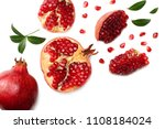 pomegranate fruit with green... | Shutterstock . vector #1108184024