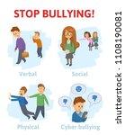 stop bullying in the school. 4... | Shutterstock . vector #1108190081