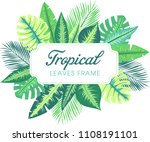 trendy summer tropical leaves... | Shutterstock .eps vector #1108191101