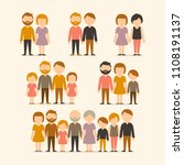 different types of families.... | Shutterstock .eps vector #1108191137