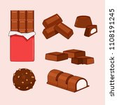 chocolate bars and pieces ... | Shutterstock .eps vector #1108191245