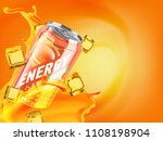 apricot cold energy drink in... | Shutterstock . vector #1108198904
