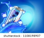 blueberry cold energy drink in... | Shutterstock . vector #1108198907