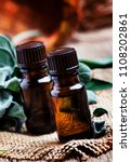essential sage oil in brown... | Shutterstock . vector #1108202861