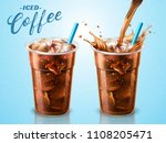 cold brewed coffee takeaway cup ... | Shutterstock .eps vector #1108205471
