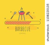 loading barbecue  grill in... | Shutterstock .eps vector #1108220135