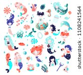 collection of cute vector... | Shutterstock .eps vector #1108241564