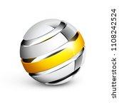 abstract 3d metallic sphere | Shutterstock .eps vector #1108242524