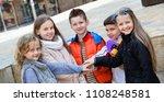 happy smiling children holding...   Shutterstock . vector #1108248581