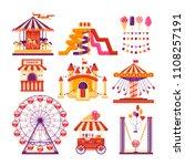 amusement park flat elements... | Shutterstock . vector #1108257191