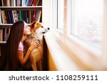 young woman with her pet dog... | Shutterstock . vector #1108259111