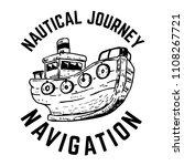 nautical. hand drawn emblem... | Shutterstock .eps vector #1108267721