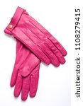 pink leather woman gloves... | Shutterstock . vector #1108279415