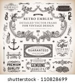 Vector set of calligraphic design elements: page decoration, Premium Quality and Satisfaction Guarantee Label, antique and baroque frames and floral ornaments collection | Shutterstock vector #110828699