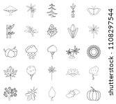 tree leaf icons set. outline... | Shutterstock . vector #1108297544