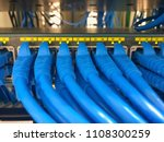 blue lan cable plugged into... | Shutterstock . vector #1108300259