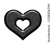 shiny black metal heart with... | Shutterstock . vector #1108306244