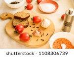 rye bread  radish  tomatoes ...   Shutterstock . vector #1108306739