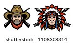 head of cowboy and indian. | Shutterstock . vector #1108308314
