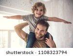 happy little boy is... | Shutterstock . vector #1108323794