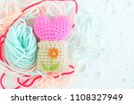 Small photo of Handmade of pink heart and pot , Take up an hobby crochet color yarn.