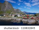 Picturesque fishing village of Hamnoy on Lofoten islands in Norway - stock photo