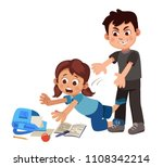 the boy pushes the girl on the... | Shutterstock .eps vector #1108342214