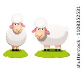 Two White Sheep Standing On...